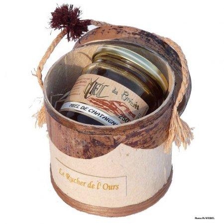 Bast-Döschen mit 250g-Glas Honig