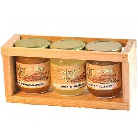 Holzkästchen mit 3 Gläsern Honig