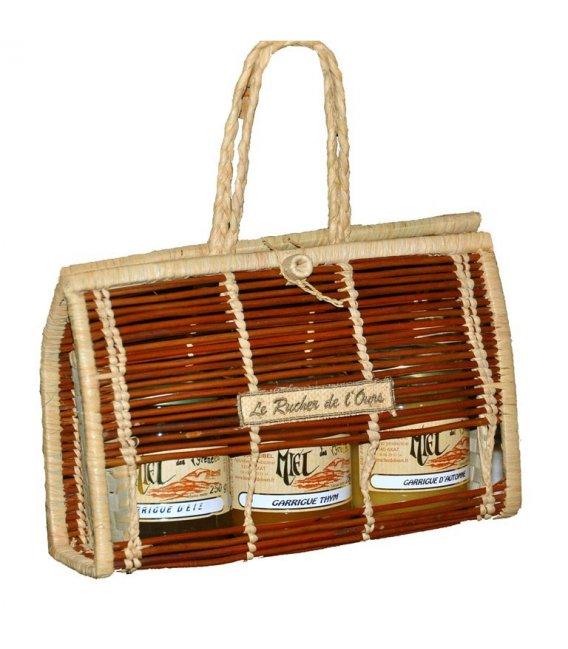 Fern-carrying-case 3 jars of honey 125g