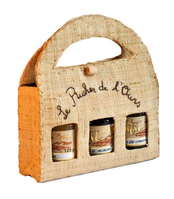 Raffia Carrying Case with 3 jars 125g