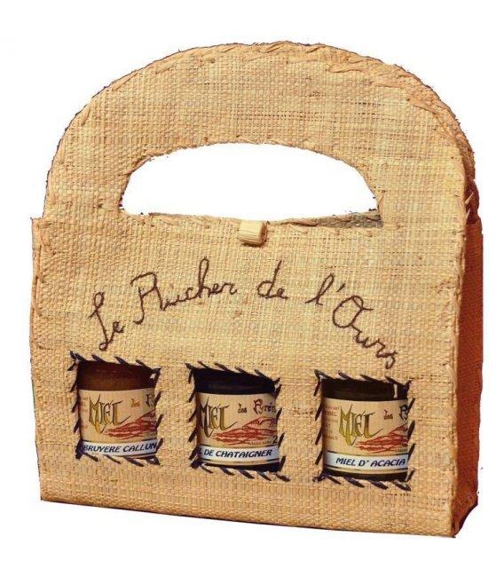 Bast-Tasche aus Madagaskar mit 3 Gläsern Honig