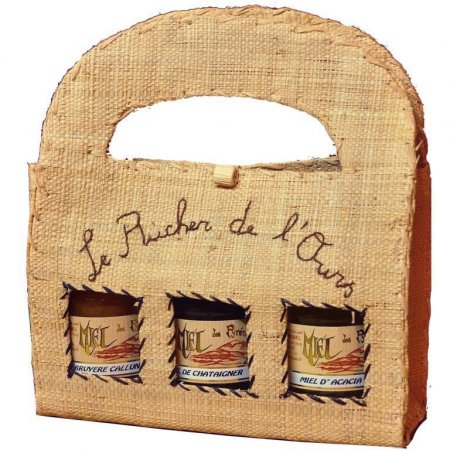 Raffia Carrying Case with 3 jars 250g