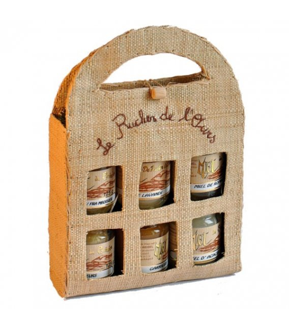 six 125g jars in a Malagasy raffia fabric case