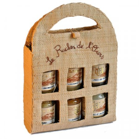 Raffia Carrying Case with 6 jars