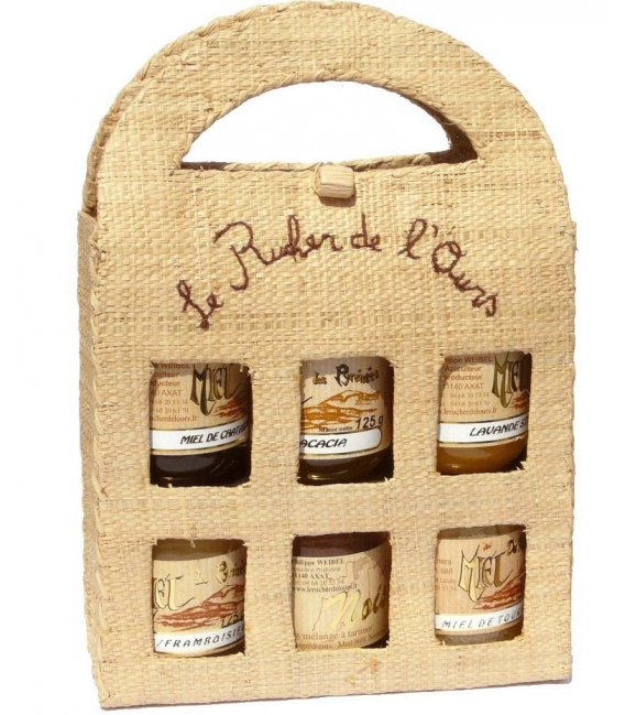 Raffia Carrying Case with 6 jars 250gr